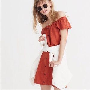 Madewell Orange Off Shoulder Button Dress